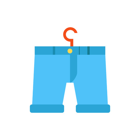 illustration with cartoon flat blue pants on hanger.