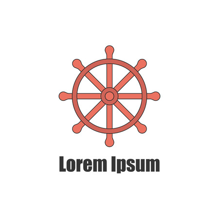 yacht club: illustration with flat line ship wheel. Yacht club emblem icon. Illustration