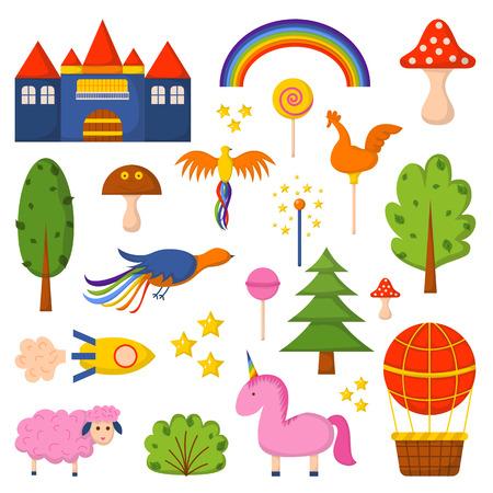 fantasy world: illustration with cute colorful cartoon fantasy world: rockets, castle, trees, unicorn and balloon Illustration