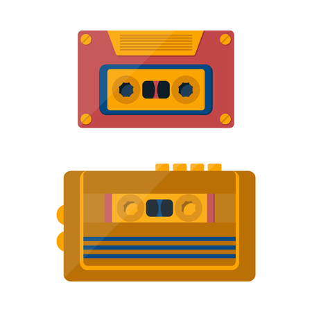 tape player: illustration with cartoon retro tape player and cassette. Vintage entertainment technology. Media player.