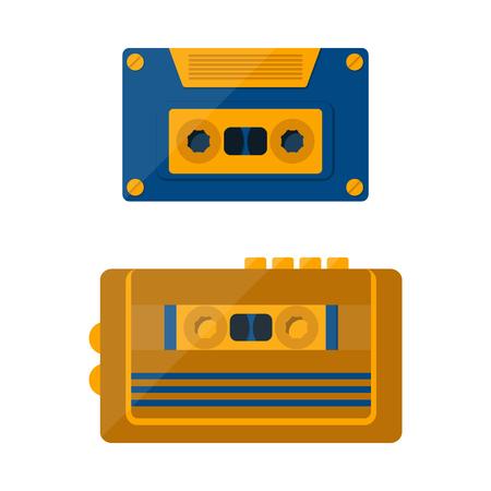 tape player: illustration with cartoon retro tape player and cassette. Illustration
