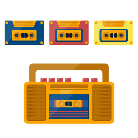 tape player: illustration with cartoon retro tape record player and cassette. Vintage entertainment technology. Media player.