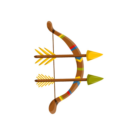 illustration with cartoon arrows and bow. Archery icon. Indian ancient antique weapon in cartoon style. Illustration