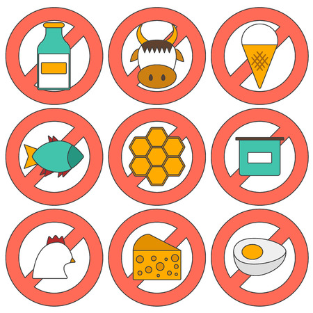 pictogramm: illustration with modern cartoon flat icons with products containing animal protein and prohibited for vegans: milk, cheese, egg, yogurt, fish, ice cream, red meat, honey, poultry meat Illustration
