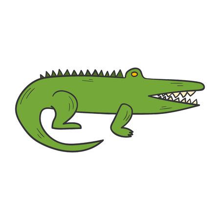 australian animals: cartoon illustration with hand drawn cute green crocodile or alligator. African or Australian animals icon. Illustration