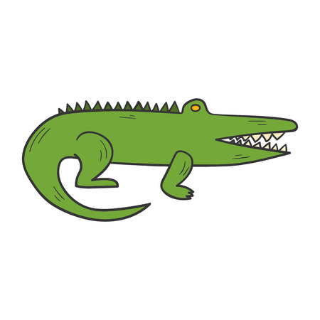 cartoon illustration with hand drawn cute green crocodile or alligator. African or Australian animals icon. Illustration