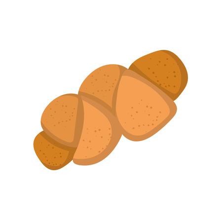 illustration with isolated cartoon bread bun icon.