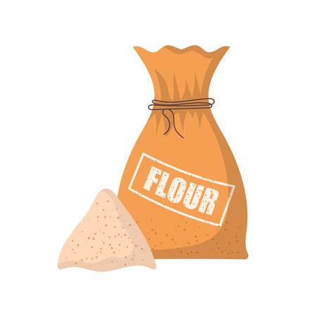 illustration with cartoon isolated flour bag.