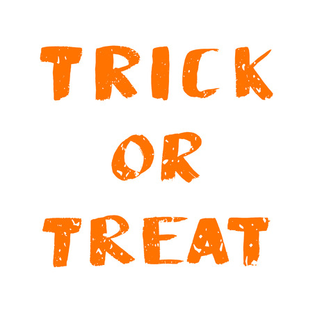illustration with Trick Or Treat lettering quote. Hand drawn phrase for poster, banner, invitation, background. Lettering for Halloween decoration design.