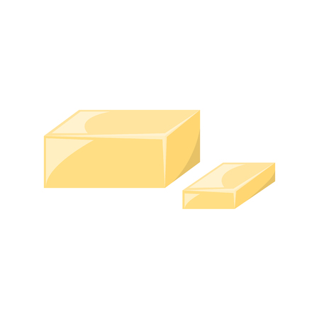 cartoon illustration with isolated sliced yellow butter. Baking ingredient icon. Cartoon dairy milk product.