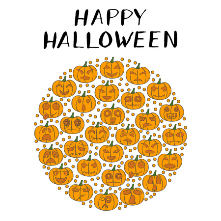 illustration with cartoon hand drawn background of orange Halloween Pumpkin with different scary or funny carving faces.