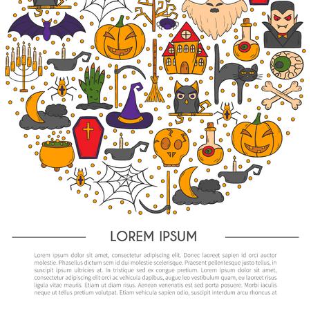 cartoon illustration with hand drawn Halloween background. Illustration