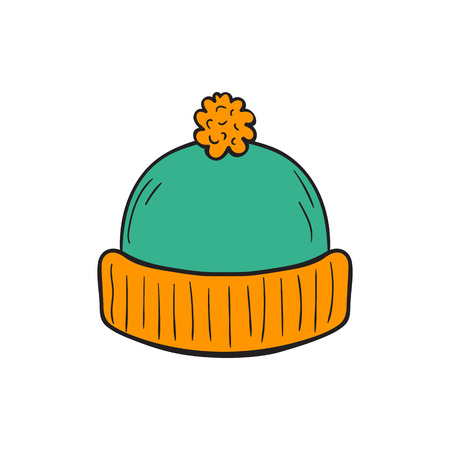 cartoon illustration with hand drawn isolated autumn knitted colorful hat on white background. Season hand drawn accessory icon. Autumn cold protection. Illustration