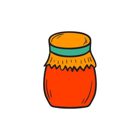 jam jar: cartoon illustration with hand drawn red jam jar icon isolated on white background.