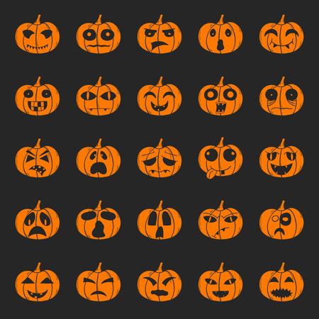 Illustration mit Cartoon Hand gezeichnet Reihe von orange Halloween-Kürbis mit verschiedenen beängstigend oder lustige Schnitzen Gesichter. Isolierte Halloween-Kürbis-Icons oder Hintergrund. Trick or treat Konzept