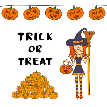 illustration with cartoon Halloween witch with broom and pumpkin lantern and lettering Trick Or Treat.