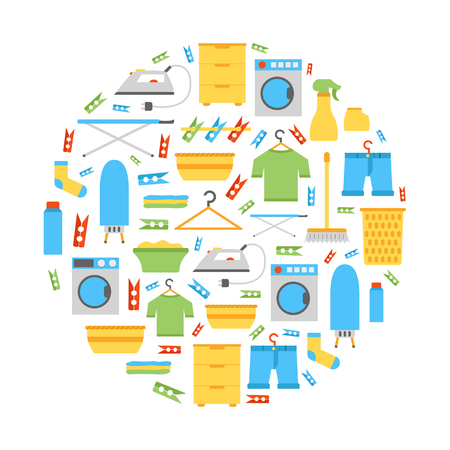 Vector illustration with flat laundry room background. Washing machine, dryer, iron, clothes hanger, ironing board, laundry basket. Vector house interior icons. Household flat equipment for laundry Illustration