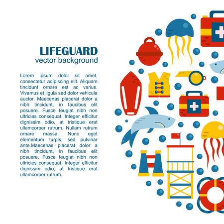 emergence: Vector flat cartoon lifeguard beach objects: buoy, shark, medusa, lifebuoy, life vest, whistle. Cartoon vector lifeguard icons. Emergence, survival, security beach nautical objects. Summer background