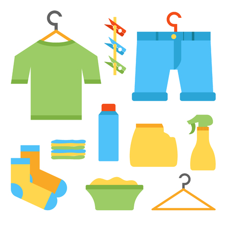 washing powder: Vector illustration with flat laundry room objects. Clothes hanger, laundry basket, clean cloth, washing powder, sprayer, clothespins. Vector house interior icons. Household flat equipment for laundry