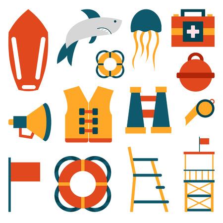 emergence: Vector flat cartoon beach lifeguard beach objects: buoy, shark, medusa, lifebuoy, life vest, whistle. Cartoon vector lifeguard icons. Emergence, survival, security beach nautical objects. Summer icons