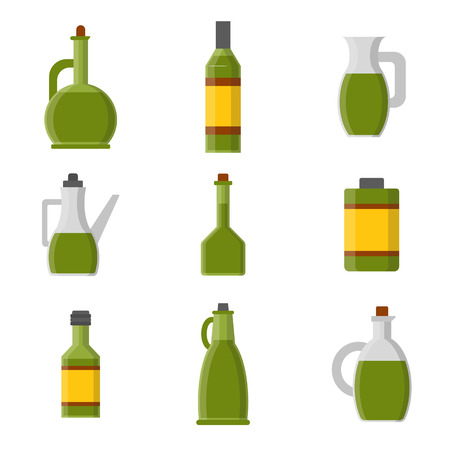 extra virgin olive oil: Vector illustration with flat cartoon olive oil bottles. Italy, Greece, mediterranean cuisine. Extra virgin olive oil. Vector flat icons. Organic natural healthy oil. Olive bottle icon for food design