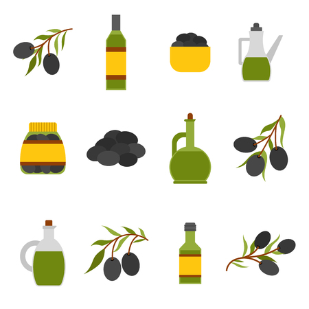 extra virgin olive oil: Vector illustration with flat cartoon oil bottle and olive branch. Italy, Greece, mediterranean cuisine. Extra virgin vector olive oil icons. Organic natural healthy oil. Olive icons for food design