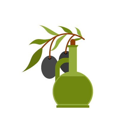ベクター グラフィック フラット漫画オイルボトルとオリーブの枝。イタリア、ギリシャ、地中海料理を楽しめます。ベクトルのエキストラバージン  イラスト・ベクター素材