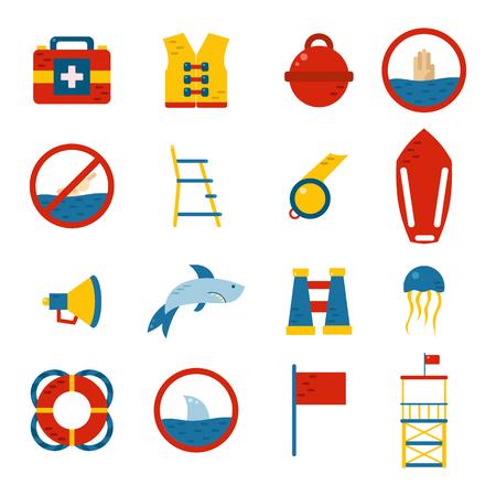 Vector flat cartoon beach lifeguard beach objects: buoy, shark, medusa, lifebuoy, life vest, whistle. Vector lifeguard icons. Emergence, survival, security beach nautical objects. Summer icons