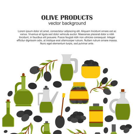 extra virgin olive oil: Vector illustration with flat cartoon oil bottle and olive branch. Italy, Greece, mediterranean cuisine. Extra virgin vector olive oil background. Organic healthy oil. Olive background for food design Illustration