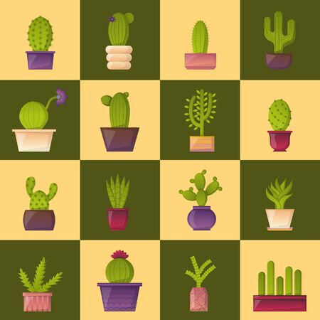indoor garden: Vector illustration with cartoon isolated cactus icon. Vector house plant in flowerpot, home interior design. Desert mexican green succulent. Home flowers cartoon indoor objects. Travel to Mexico icon Illustration