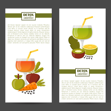 green banner: Vector illustration with cartoon summer ingredients for detox smoothie. Vegetables, fruits, chia seeds cartoon background. Fresh detox smoothie vitamin healthy living. Vegan diet, vegetarian lifestyle