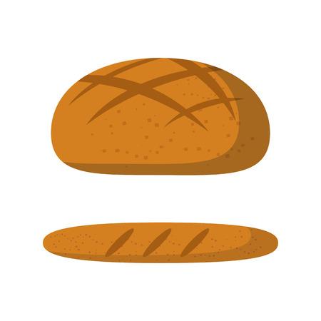 ilustración de dibujos animados de vectores con pan lindo aislado. cocina francés concepto: baguete, pan. Icono de los alimentos frescos. De vectores de fondo pan ilustración. alimentos desayuno saludable