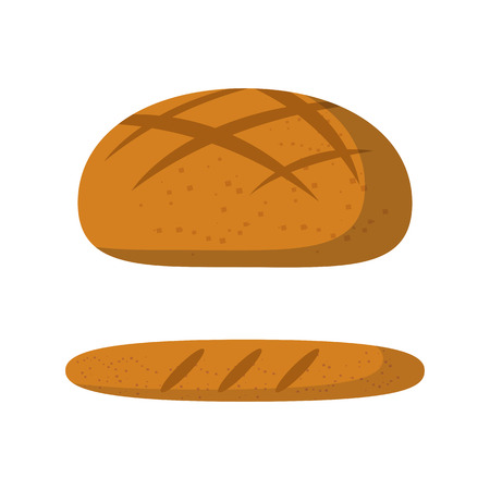 Vector cartoon illustration with isolated cute bread. French cuisine concept: baguete, bread. Fresh food icon. Vector bread background illustration. Healthy breakfast food Vectores