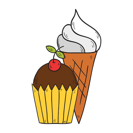 Vector cartoon illustration with isolated hand drawn cute chocolate-cherry muffin and ice cream. Pastry or candy shop design. Vector hand drawn sweet icon Illustration
