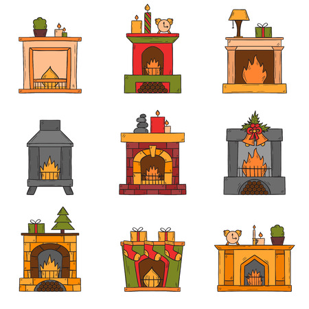 fireplaces: Vector cartoon illustration with cute hand drawn set of fireplaces. Different types of fireplace: classic, retro, brick, wooden, metallic. House interior icons. Christmas concept. Warm cozy fireplace