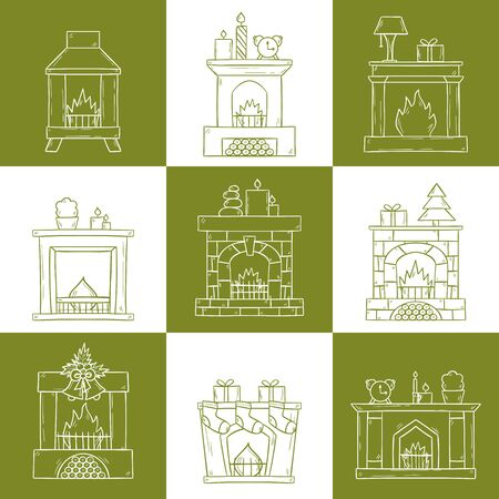 cozy: Vector cartoon illustration with cute hand drawn set of fireplaces. Different types of fireplace: classic, retro, brick, wooden, metallic. House interior icons. Christmas concept. Warm cozy fireplace