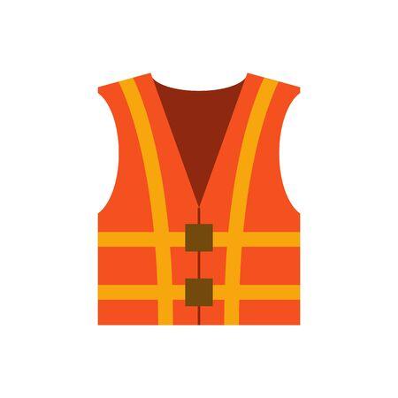 Vector illustration with cartoon flat isolated orange waistcoat. Builder worker protective reflective workwear. Uniform jacket icon. Flat vector illustration