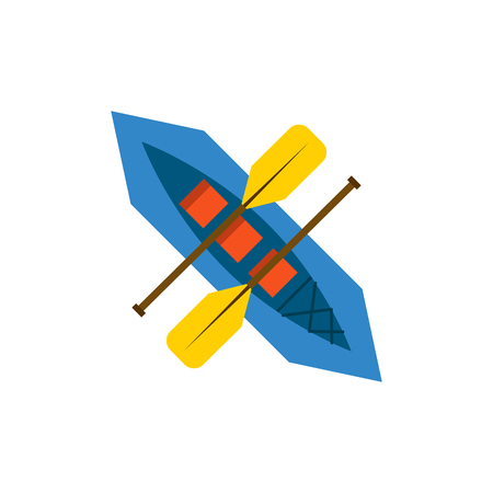 paddles: Vector illustration with cartoon isolated canoe and paddles. Rafting vector icon. Flat illustration with isolated kayak boat background. outdoor river water sport activity. Recreation rafting icon
