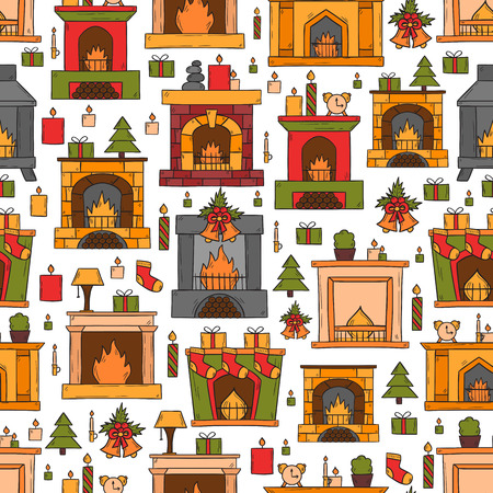 fireplaces: Vector cartoon illustration with cute hand drawn fireplaces background. Different types of fireplace: classic, retro, brick, wooden, metallic. House interior. Christmas concept. Warm cozy fireplace