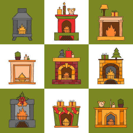 Vector cartoon illustration with cute hand drawn set of fireplaces. Different types of fireplace: classic, retro, brick, wooden, metallic. House interior icons. Christmas concept. Warm cozy fireplace