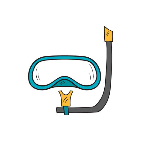 seacoast: Vector cartoon illustration with isolated hand drawn snorkeling mask. Summer hobby diving equipment. Vacation travel sea icon. Vector hand drawn snorkel mask. Beach background design
