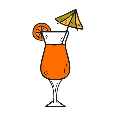 nonalcoholic: Vector cartoon illustration with isolated hand drawn cute orange exotic cocktail with umbrella. Vector tropical fruit beverage. Alcoholic or non-alcoholic drink. Fresh orange juice in tall glass Illustration