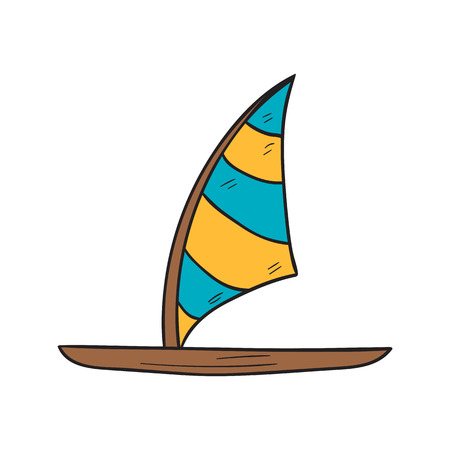 Vector cartoon illustration with isolated hand drawn windsurf board icon. Cartoon windsurfing vector icon. Summer beach exotic tropical sport. Active lifestyle icon. Surfer board Illustration