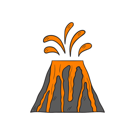 Vector cartoon illustration with isolated grey volcano and orange lava ejection. Hand drawn dangerous nature cataclysm icon. Orange magma from volcano. Vector background