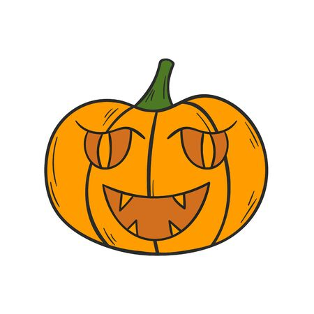 Vector illustration with cartoon hand drawn orange Halloween Pumpkin with scary or funny carving face. Isolated Halloween Pumpkin icon or background. Trick or treat concept