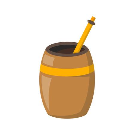 yerba mate: ilustración vectorial de dibujos animados aislado con compañero de té en el fondo blanco. El té verde bebida tradicional de Argentina y América del Sur. Calabaza y bombilla. Vector icono de la hora del té