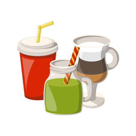 Vector illustration with cartoon non-alcoholic beverages icons. Glasses with cartoon drinks: smoothie, soda, coffee, milk cocktail. Non alcoholic drinks vector icons