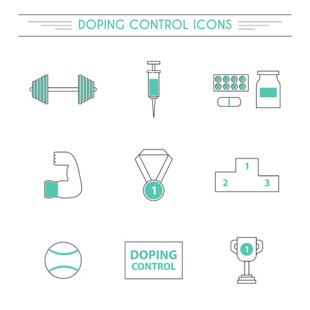 drug control: Vector illustration with line flat doping icons. Sport doping control concept. Syringe, drugs, tablets, medal icons. Illegal drug supplement in sport concept. Pharmaceutical competition vector objects Illustration