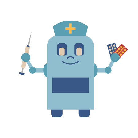 future medicine: Vector illustration with cartoon flat isolated robot nurse with drugs and syringe. Vector future medicine icon. Artificial intelligence in medicine technology. Doctor help and assistance equipment Illustration