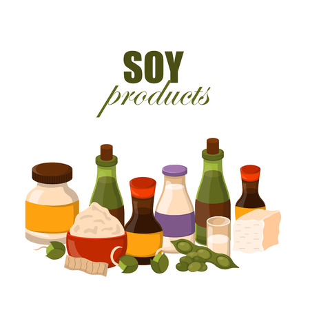 Vector illustration with cartoon soy products: sause, protein, soy milk, beans, oil, flour, sprouts, soy meat, tofu. Vegan source of protein. Vector healthy vegetarian food concept cartoon background